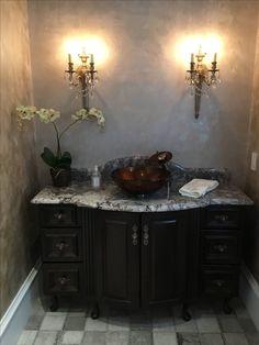 Beautiful Omega Custom cherry vanity with a Ganashe granite countertop! Wet Bars, Granite Countertops, New Construction, Double Vanity, Baths, Omega, Cherry, Beautiful, Design