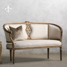 Gorgeous Vintage Settee with Hand Carved Back in Gold $3,295.00 #thebellacottage #shabbychic #eloquence