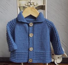 This little sweater is an easy knit, commencing at the neck, and working down, no seaming required. Suitable for either boy or girl, and is sure to become a favourite little cardigan to pop on8ply yarn (Double knit, Light Worsted, (#3) yarn was used for this garment270m - 296 yards For size A: 380m - 416 yards for size B : 475m - 520 yards for size C : 570m - 624 yards for size D.Size 3.75mm (US No 5, UK No 9) CircularOne set Size 3.75mm (US No 5, UK No 9) double pointed needlesStitch…