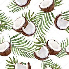 Pho, Watercolor Pattern, Watercolor Illustration, Coconut Images, Toa Alta, Coconut Flower, Tea Labels, Mood And Tone, Sad Wallpaper