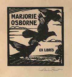 Adrian FEINT bookplate for Marjorie Osborne. (1926)