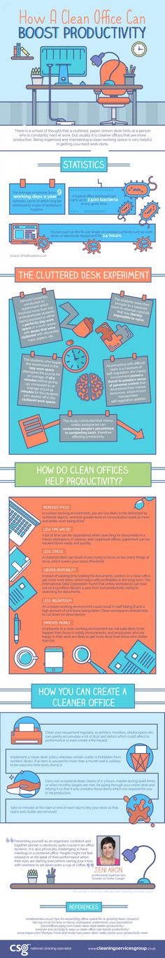How a Clean Office can Boost Productivity (Infographic) - Business Partner Magazine Time To Tidy Up, Clean Desk, Construction Cleaning, Small Business Trends, Increase Productivity, Leadership Development, Home Schooling, Data Visualization, Workplace
