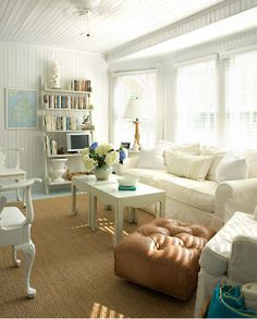 Beach house living room- I have these end tables... must paint off white.