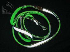 """3m Leine """"Safety first"""" mit Neoprenunterfütterung in Neon-Grün und Reflexstreifen; Spezialanfertigung"""