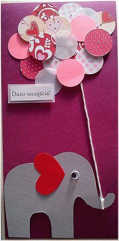 Kartka urodzinowa ze słoniem / Birthday card with an elephant