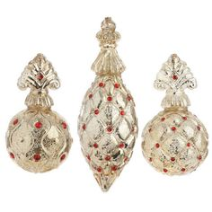 "RAZ 7.5"" Antiqued Finial Ornament, 3 Assorted  #3222820 - House of Holiday"