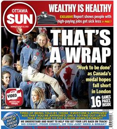 Melissa Bishop makes the cover of Ottawa Sun. Photo from closing ceremonies.