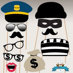 Police Birthday Party Photo Booth Props - Cops and Robbers birthday props Cop Party, Party Props, Party Masks, Party Ideas, Police Retirement Party, Retirement Parties, Cops And Robbers, Office Birthday, 5th Birthday