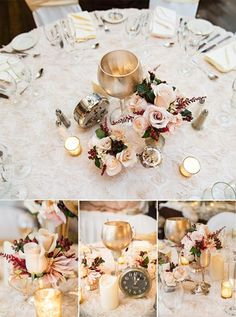 Heather Fuller Photography.  The Publick House Historic Inn in Sturbridge, MA quarterly tasting for winter weddings, along with Michele Bernard Floral and event design.  Pewter, silver and Gold retro, white rose, red berries, winter, elegant, clock, gatsby wedding reception decor inspiration.  Floral white patterned linen.