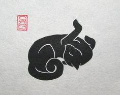 Catnapped...  .. .comme dans votre oreiller.  Il vous laisse emprunter.  Limage a été taillé dans une pâté de maisons de linoléum de mon dessin