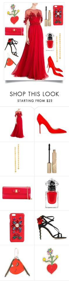 """Red Gown..**"" by yagna ❤ liked on Polyvore featuring Zuhair Murad, Manolo Blahnik, Gorjana, Stila, Salvatore Ferragamo, Guerlain, Dolce&Gabbana, Sonia by Sonia Rykiel, Olympia Le-Tan and vintage"