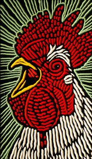 rooster by Lisa Brawn, via Flickr    I am a sucker for great woodcut, and she's the master.