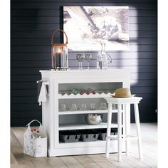 Tabouret de bar en bois blanc Newport   Maisons du Monde