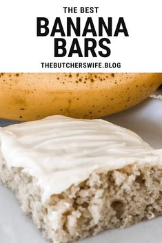 The BEST Banana Bars you will ever eat! Sweet, moist and full of delicious banana flavor with a smooth cream cheese frosting Banana Recipes Easy, Banana Dessert Recipes, Easy Banana Bread, Baked Banana, Apple Bread, Banana Brownies, Banana Bars, Cake Bars, Dessert Bars