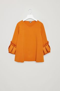 COS image 10 of Top with frill detailed sleeves in Orange