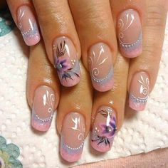 Dress up your nails in the most stylish way this spring with overthetop flower nail art designs. Try out different patterns of floral nails in peppy bright and neon hues. Beautiful Nail Art, Gorgeous Nails, Pretty Nails, Amazing Nails, Floral Nail Art, Pink Nail Art, Purple Nails, Simple Nail Designs, Nail Art Designs