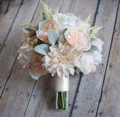 Wedding Bouquet Blush Pink and Ivory Garden Rose by KateSaidYes #elegantweddings
