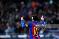 Lionel Messi of FC Barcelona celebrates after scoring his team's second goal during the La Liga match between FC Barcelona and UD Las Palmas at Camp Nou stadium on January 14, 2017 in Barcelona, Spain.
