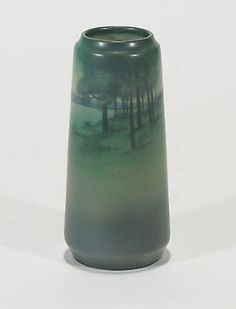 Rookwood Pottery Scenic Vellum Arts & Crafts landscape matte blue green S Coyne Antique Pottery, Pottery Art, Rockwood Pottery, Vase Shapes, Art Nouveau, Arts And Crafts Movement, American Art, Stoneware, Blue Green