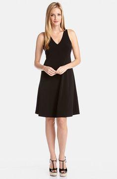 Karen Kane 'Callie' V-Neck Travel Dress Add cardigan, taupe kitten heels, and scarf Set for business travel
