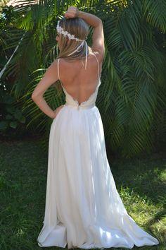 Boho Wedding Dress by CrystalsandLaceBride on Etsy, $550.00
