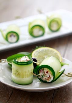 Cucumber rools-just thinnly slice fresh cucumber and fill with a plant based food like beans