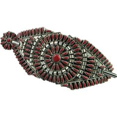 Astonishing Coral Designer Signed Zuni American Indian Hand Made Fine Sterling Silver Barette Barrette Retro 1970s Custom