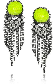 Shourouk's 'E.Vegas' crystal and neon-chartreuse sequined earrings, set in oxidised-brass. who are you shourouk, you crazy genius?