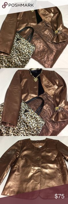 🔥BEAUTIFUL JACKET AND METALLIC PANT🔥 2-PIECE- COPPER FAUX LEATHER JACKET- SZ L-BOUTIQUE-METALLIC COPPER/BLACK DG2- PANT-SZ-14 GORGEOUS SET! JACKET-NWT-PANT-LIKE NEW! -HAVE JACKET ALSO IN SILVER!❤️WILL SALE SEPARATE!❤JACKET-$30 PANTS-$25 Diane Gillman Jackets & Coats Blazers