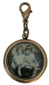 This is my Mother and my Aunt Round Oxidized Brass Charm with Vintage Photo www.classiclegacy.com