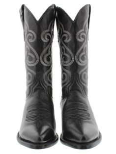 Men's cowboy boots black leather classic western biker rodeo sizes 7-14