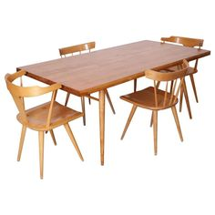 Paul McCobb Dining Set Four Chairs and Table, Maple, 1950s, Winchendon 1