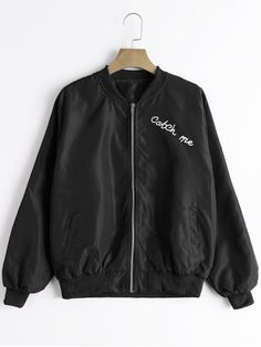 Zip Up Letter Graphic Bomber Jacket - BLACK ONE SIZE