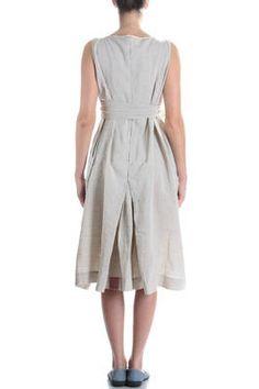 DANIELA GREGIS - Linen Dress With Box Pleats Detail 980E