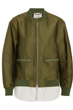 3.1 Phillip Lim - Satin And Striped Poplin Bomber Jacket - Army green - US0