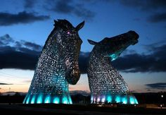 Two 300-tonne, 30-metre sculptures of horses' heads unveiled in Scotland - The Kelpies. Photo: Andrew Milligan/PA Wire