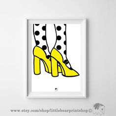 Yellow High Heels print. Size A2 Digital Download 8.68€. Printable artwork is a beautiful, quick and cost effective way of updating your art. Available on Etsy. ❤️🐻❤️