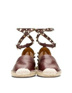 VALENTINO Grain Leather Studded Espadrille Flats