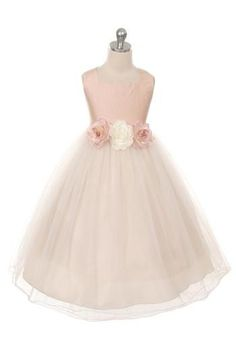 Stunning silk bodice with tulle skirt is perfect for a wedding, the holidays or any special occasion. Comes with 3 elegant flowers on a removeable waist band that can be placed anywhere. This dress is