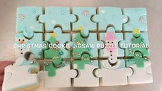 Christmas Jigsaw Puzzles, Christmas Puzzle, Fun Cookies, How To Make Cookies, Cookie Games, Cookie Ideas, Cookie Recipes, Edible Luster Dust, Christmas Cake Designs