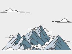 Design Story – Busbud Illustration Series (by Meg Robichaud) . Behance Illustration, Illustration Vector, Landscape Illustration, Graphic Design Illustration, Outline, Mountain Illustration, City Landscape, Illustrations And Posters, Line Art