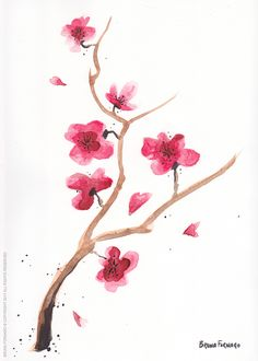 Watercolor Cherry Blossoms. Video of timelapse painting: https://youtu.be/qj0C_AS4kUo