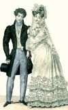 Regency England - Regency life notes, although her gown looks more Victorian with the low waistline.