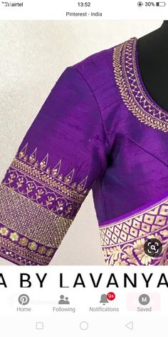 Blouse Designs High Neck, Simple Blouse Designs, Stylish Blouse Design, Wedding Saree Blouse Designs, Silk Saree Blouse Designs, Work Blouse, Blouse Dress, Embroidery Blouses, Hand Embroidery