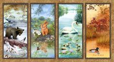 Wee-Wild-Life-Baby-Animal-Panel-Cotton-Fabric-Four-Seasons-Green-BFabric