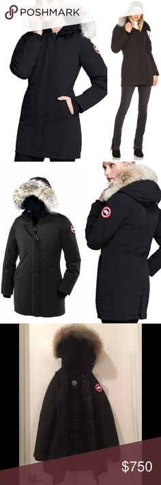 Canada Goose Victoria Parka Canada Goose Victoria Parka in black. Obsessed with this coat, it's so warm but still makes you look thinner than most puffy coats. Down filled but sleek outside. Real fur hood. Gently used, perfect condition. Canada Goose Jackets & Coats Puffers