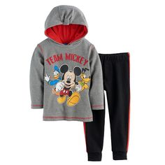 Disney's Mickey Mouse Baby Boy Thermal Hoodie & Pants Set, Size: 24 Months, Grey