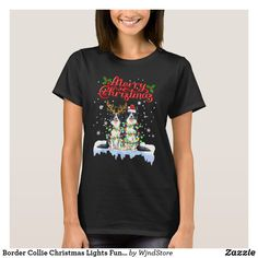 Border Collie Christmas Lights Funny Dog Lover T-Shirt