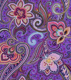 Simply Silky Print- Purple Paisley Charmeuse