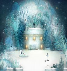 Lisa Evans - Illustration by firefluff Winter Illustration, Children's Book Illustration, Lisa Evans, Evans Art, Winter Art, Winter Night, Naive Art, Winter Scenes, Painting & Drawing